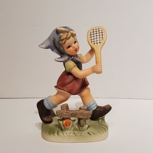 Vintage EUC Girl with Racket Figurine